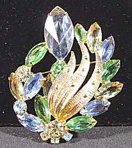 Rhinestone Brooch Pin - Blue, Green & Yellow Stones (Image1)