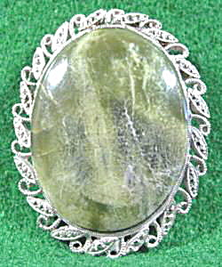 Costume Agate Brooch Pin - Marcasite Border (Image1)