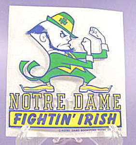 Notre Dame Fighting Irish Window Decal with Leprechaun (Image1)