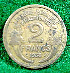 Coin Error - France 1938 - 2 Francs