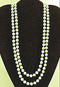 Blue and Green Plastic Rope Bead Necklace - 48 inches (Image1)