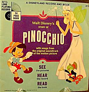 Children's Story Book And Recording - Pinocchio - 1966