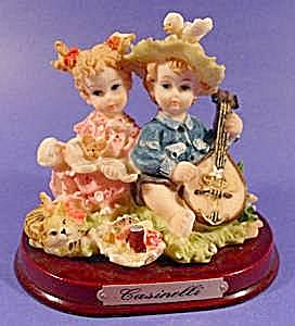 Figurine ~ Girl and Boy with Mandolin ~ Signed (Image1)