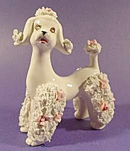 Spaghetti Poodle - White With Pink Roses - Vintage