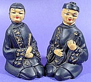 Chalk Figurines Oriental Man and Woman - Vintage 1953 (Image1)