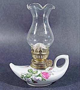 Moss Rose Pattern Miniature Oil Lamp - Fluted Chimney