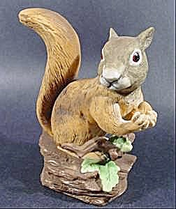 Animal Figurine - Bisque Squirrel With Nut