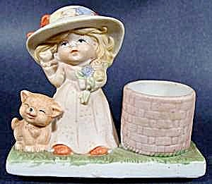 Bisque Figurine - Girl with Kitten - Toothpick Holder? (Image1)