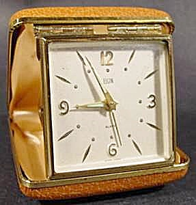 Elgin Travel Clock - Leather Case - Vintage