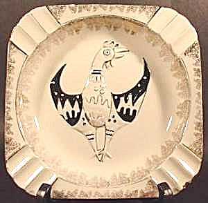 Chicken Rooster Ashtray ~ Square ~ Ceramic (Image1)