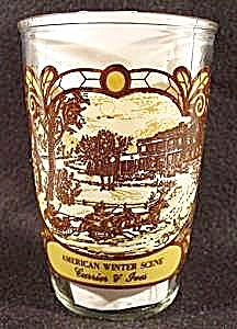 Currier & Ives American Winter Scene Glass 1979