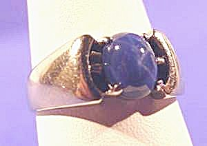 14k W.g. Blue Linde Star Sapphire Gents Ring - Size 10
