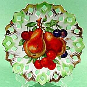 Fruit Plate With Gold Trim - Reticulated Border