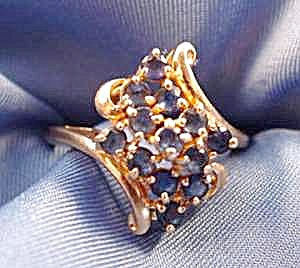 London Blue Sapphire Dinner Ring - 10k Y.g. Size 7.5