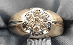 Gents Diamond Cluster Estate Ring - Size 10.5 (Image1)