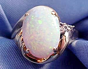 10K Y.G. White Opal and Diamond Ring - Size 7 (Image1)