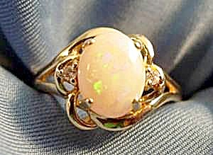 14k Y.g. White Opal & Diamond Ring - Size 6.5