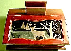 Gents Deer Scene Wood Jewelry Box (Image1)