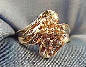 14K Y.G. Diamond Cocktail Dinner Ring - Size 5 (Image1)