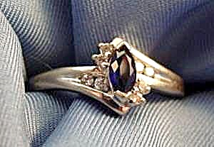10k W.g. Marquise Sapphire & Diamond Ring - Size 7