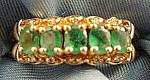 14k Y.g. Emerald & Diamond Ring - Size 8.5
