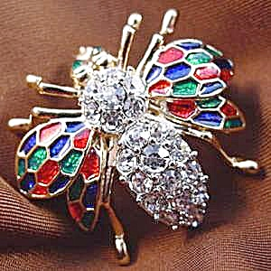Enamel & Crystal Bug Insect Pin Brooch (Image1)