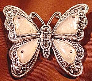 Butterfly Brooch Pin - Moonstone & Crystals (Image1)
