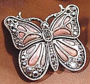 Butterfly Pin Brooch - Mauve Enamel & Crystals (Image1)