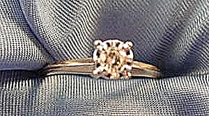 Diamond Solitaire Ring - 10k Yellow Gold - Size 7.5