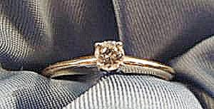 Diamond Solitaire 14k Y.g. Ring - Size 6.5