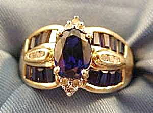 Blue Sapphire Gold Ring - 10k Y.g. - Size 7