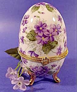 Porcelain Limoges Type Violet Egg Trinket Jewelry Box