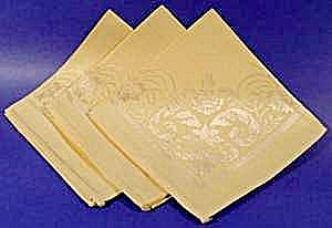 Pale Yellow Damask Napkins - Set Of 3