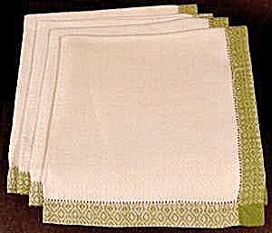 White Linen Napkin Set Of 4 - Green Border