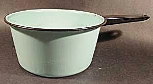 Aqua Saucepan with Black Trim - Graniteware - Vintage (Image1)