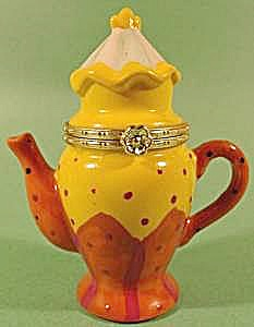 Limoges Style Porcelain Hinged Coffee Tea Pot
