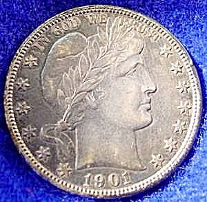 Barber Liberty Head Half Dollar Coin - 1901