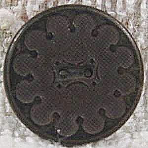 Black Rubber Goodyear Button ~ 1851 Patent ~ N.R. Co. (Image1)