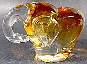 Amber Glass Crystal Elephant Paperweight Paper Weight (Image1)