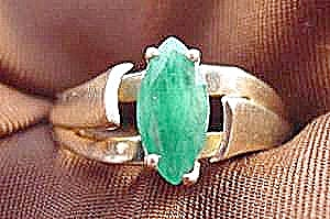 Natural Emerald Ladies Ring - 10k Y.g. - Size 6.25