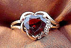 Heart Shape Garnet Ring - 10k Y.g. - Size 6.75