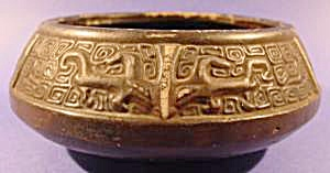 Oriental Pottery Bowl - Tri-Footed - Antique (Image1)