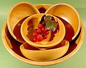 Salad Bowl Set Of 5 Pcs. - Occupied Japan - Wooden