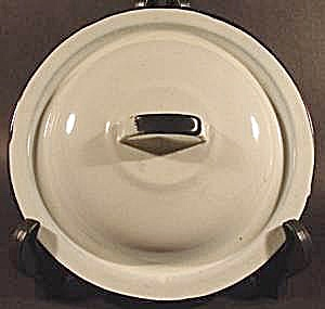 White Graniteware Lid with Black Trim - 7-7/8 inch (Image1)