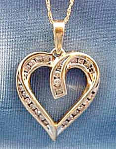 Heart Pendant With Diamonds - 10k Y.g. - 18 Inch Chain