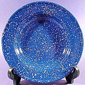 Blue Graniteware Soup Plate with White Specks 8-1/2 in (Image1)