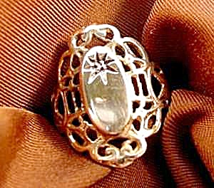 Filigree Ring with Diamond - 10K Yellow Gold - Size 8 (Image1)