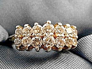 Double Row Cz Ring - 10k Y.g. - Size 6.75