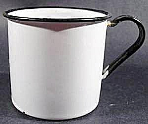 White Graniteware Mug with Black Trim - Vintage (Image1)