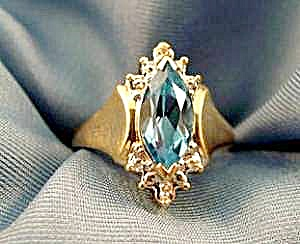 Blue Topaz Ring - 10k Yellow Gold - Size 5